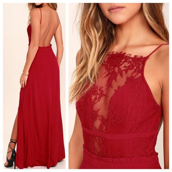 "e1a3e0e5bc7 Lulus NBD ""Stephania"" Red Lace Backless Maxi Dress"